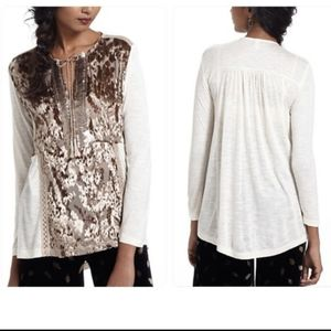 Anthropologie L Tiny Gilded Acacia Henley Blouse
